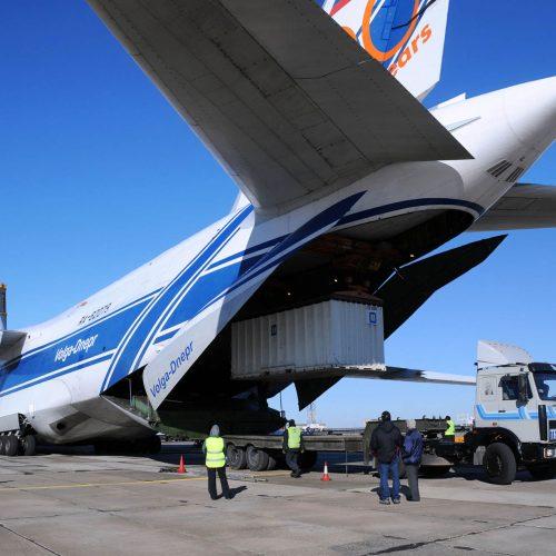 24617969 - baikonur, kazakhstan - november 11, 2013. russian volga-dnepr antonov an-124 long-range heavy transport plane is being unloaded in yubileiny airport.